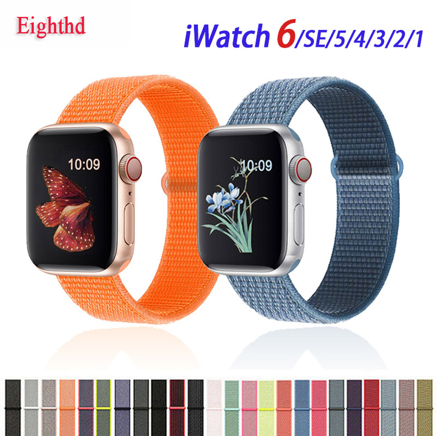 สายนาฬิกาข้อมือไนล่อนสําหรับ Apple Watch Band Series Se 6 5 4 3 2 1 Colorful Iwatch 38 มม . 40 มม . 42 มม . 44 มม .