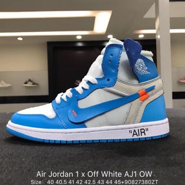 quality design c19a7 7091b OFF-WHITE x AIR JORDAN 1 รองเท้าบาสเก็ตบอล UNC AJ1 OW Joint North Carolina  Blue AQ0818-148