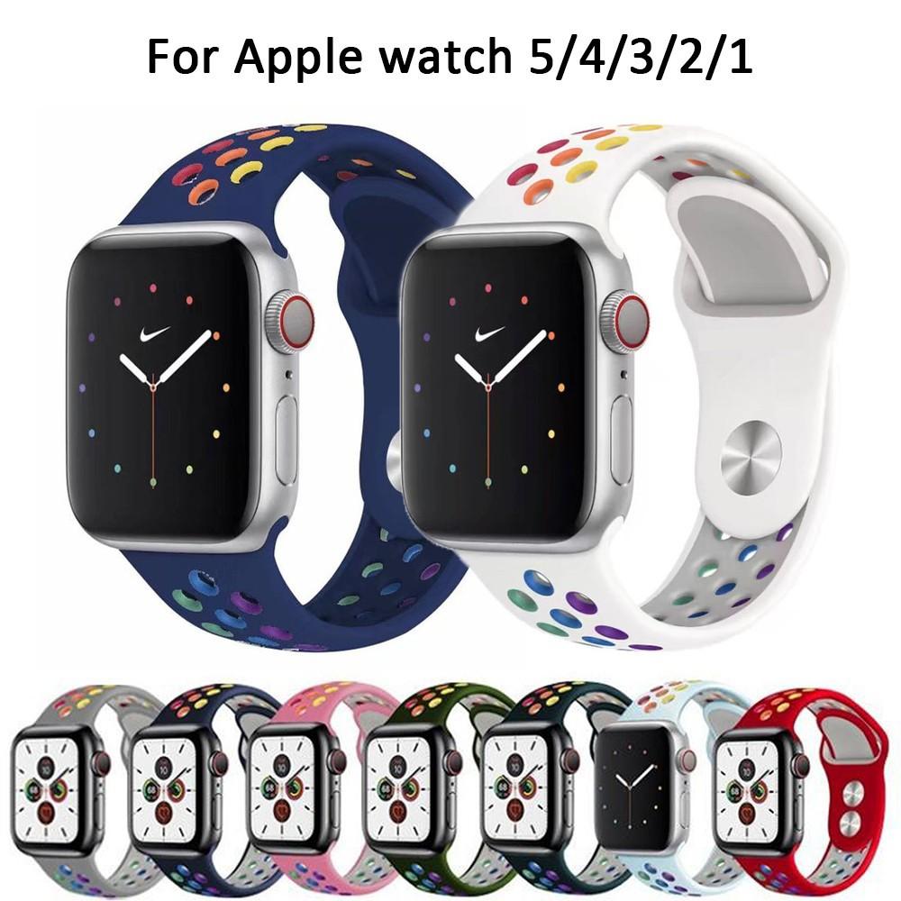 Nike Pride Edition สายรัดข้อมือซิลิโคนสีรุ้งสําหรับ Apple Watch Series 6 5 4 3 2 1 Se 44 มม . 40 มม . 42 มม . 38 มม .