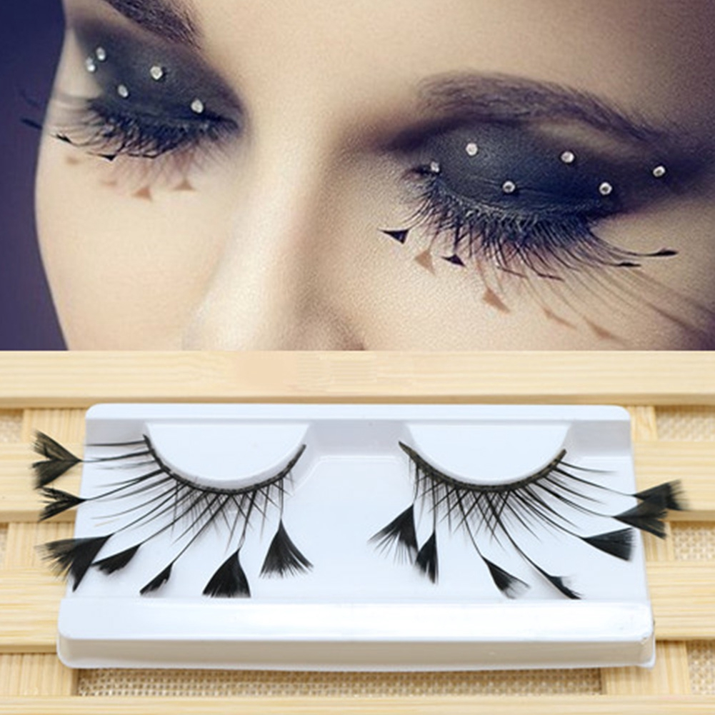 f81836a6921 1 Pair Reusable Long Extension Fashion Exaggerated Art Artificial Feather  Makeup Tool Party False Eyelash