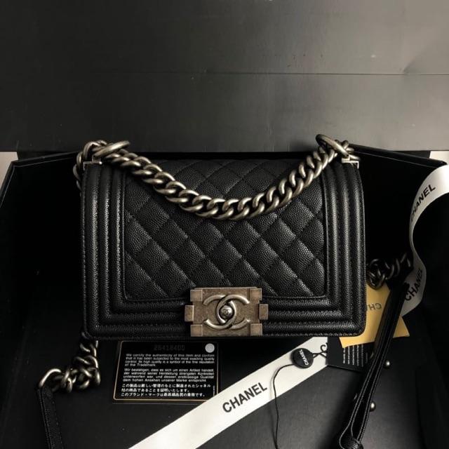Chanel boy 8 นิ้ว 20 cm ดำคาร์เวียร์ อะไหล่รมดำ บอย ไฮเอน หนังแท้