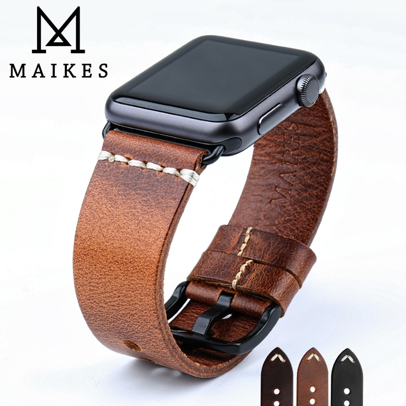 MAIKES Vintage Oil Wax Leather Watch Strap For Apple Watch Band 44mm 40mm 42mm 38mm Series SE/6/5/4/3/2/1 iWatch Watch B