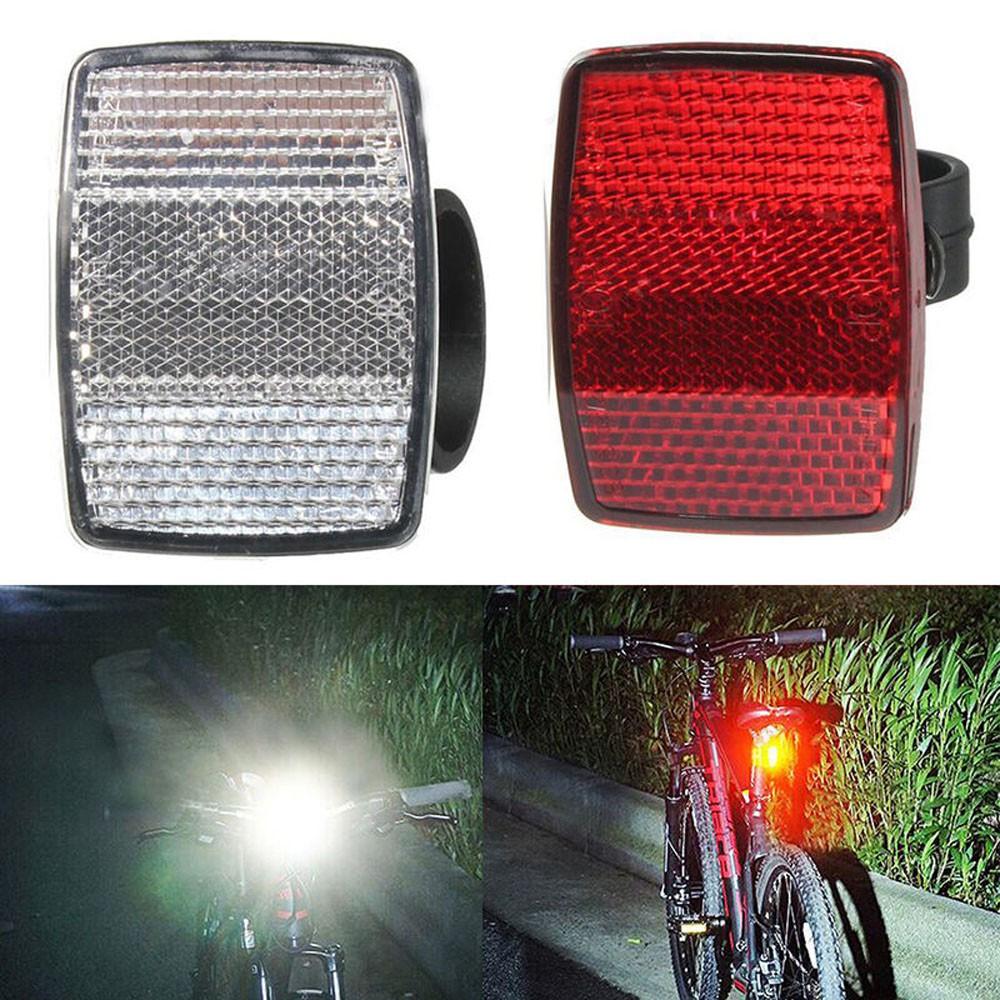 1 Pcs Handlebar Mount Safe Reflector Bicycle Bike Front Rear Warning Red//White