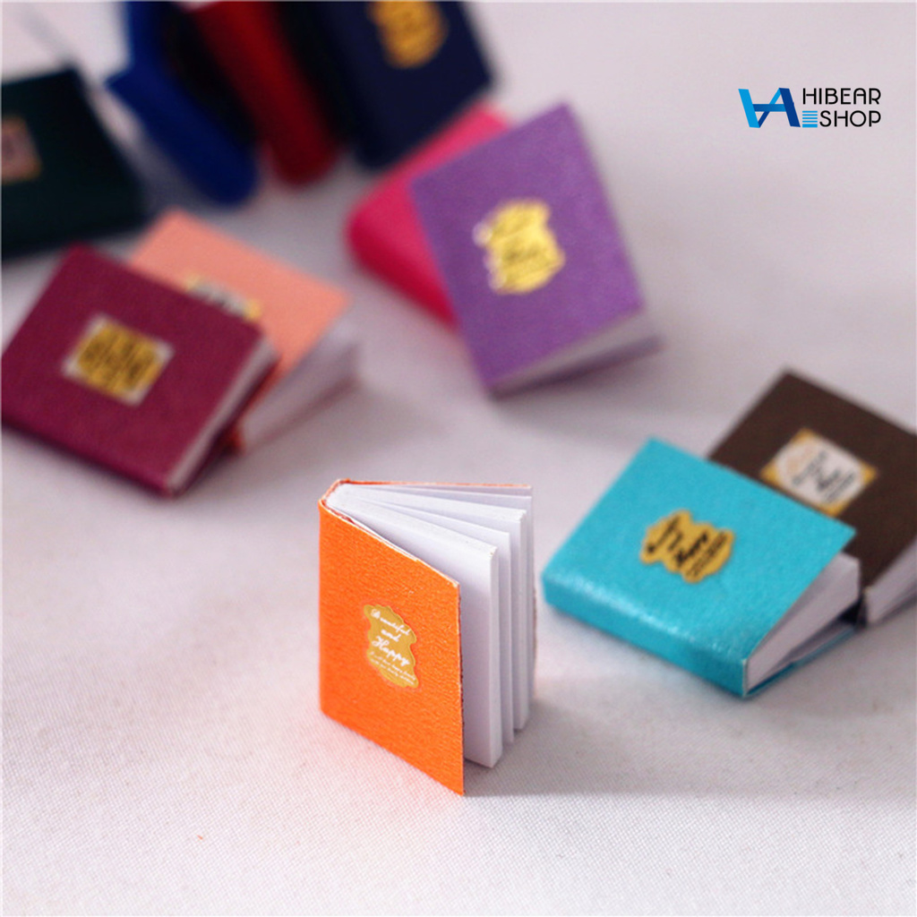 hibearshop 4Pcs Miniature Books Multicolor Durable Paper Doll House Miniature Furniture Books for Gift