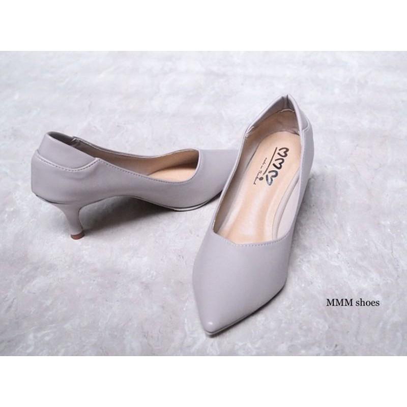 คัชชูหนังนิ่มส้นสูง2.5นิ้ว รองเท้าไซส์ใหญ่ ไซส์พิเศษ 35-45 รองเท้าใส่ทำงาน มีกันกัดหลังในตัว ไม่กัดเท้า  🚚พร้อมส่ง