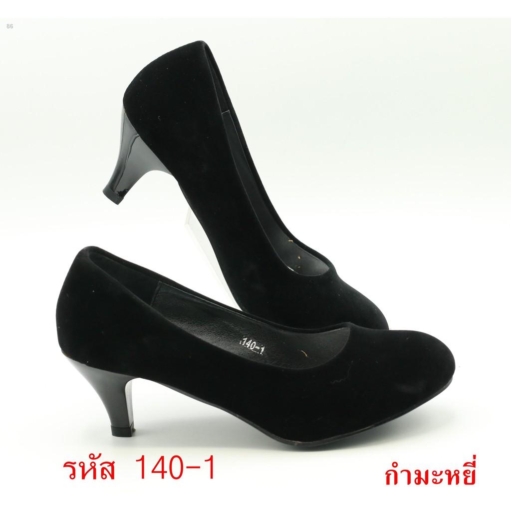 ◙▼FAIRY  รองเท้าคัชชูนักศึกษาส้นสูง 2 นิ้ว รุ่น 140-1 หนังกำมะหยี่ซับดำ