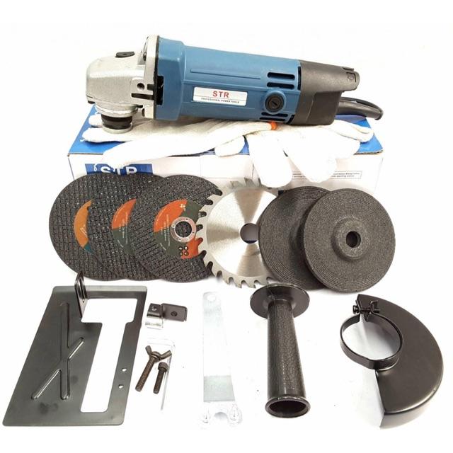 ชุดเครื่องเจีย4 นิ้ว+ชุดไกด์นำตัด และใบตัดไม้ เหล็ก