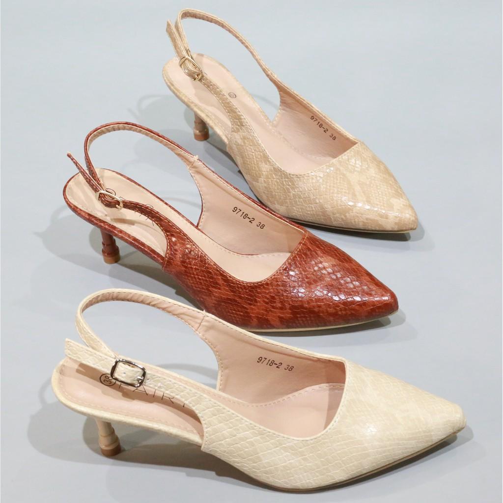 """รองเท้าส้นสูงแฟชั่น。 9718-2 คัชชูรัดส้นสูง 2.5""""   รองเท้าคัชชูหัวแหลม หนังนิ่ม รองเท้าส้นสูง แฟชั่น FAIRY"""