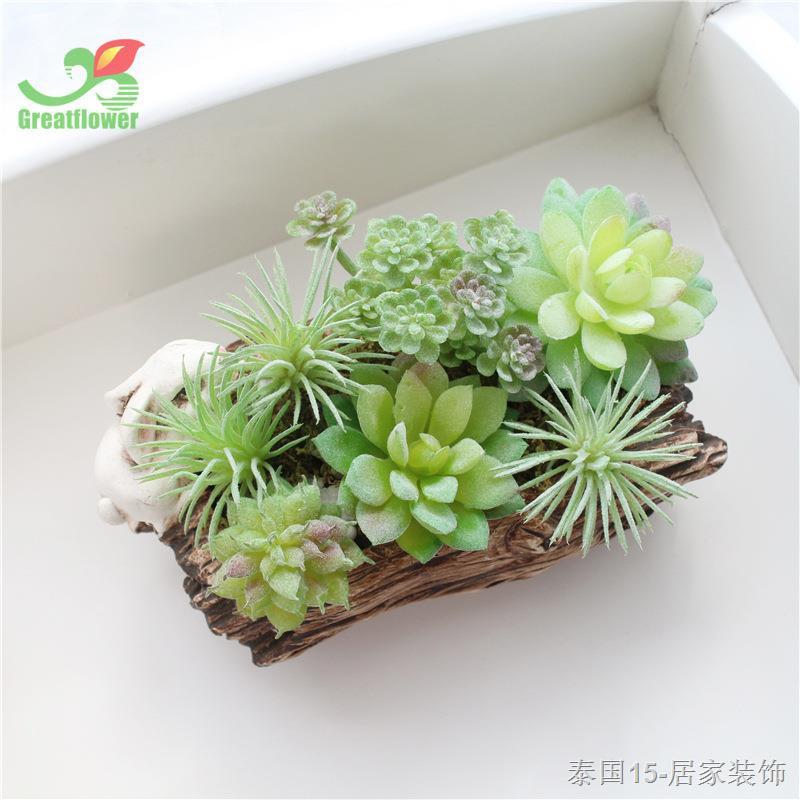 ชุดพืชอวบน้ำเลียนแบบ, เลียนแบบพืชสีเขียว, ไม้กระถางบอนไซขนาดเล็กปลอม, ดอกไม้ประดิษฐ์, ของตกแต่งบ้าน
