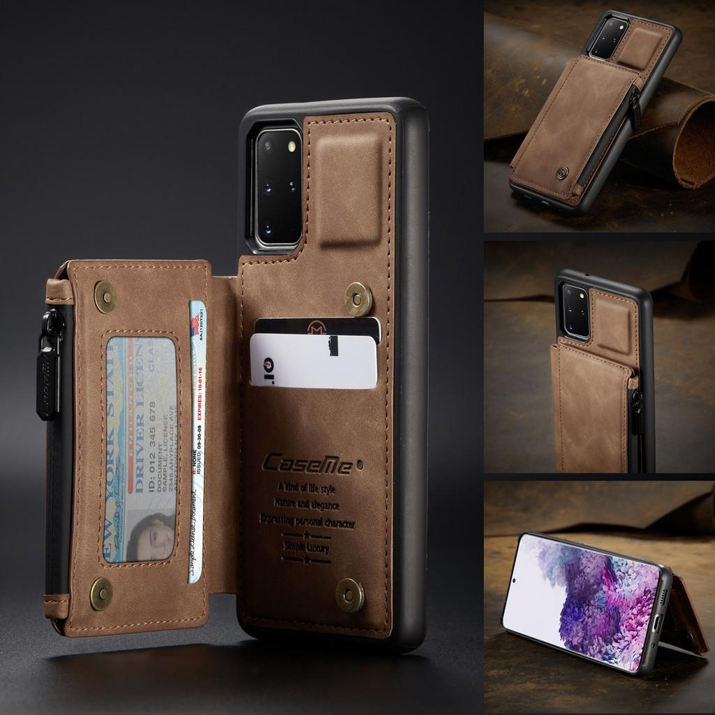 Galaxy S20+⭐สอง กระดุม กระเป๋าสตางค์ วงเล็บ หนังแท้ พลิกซองโทรศัพท์⭐S20Ultra S10+S9+S8+⭐Double Clasp Leather Case⭐Samsung