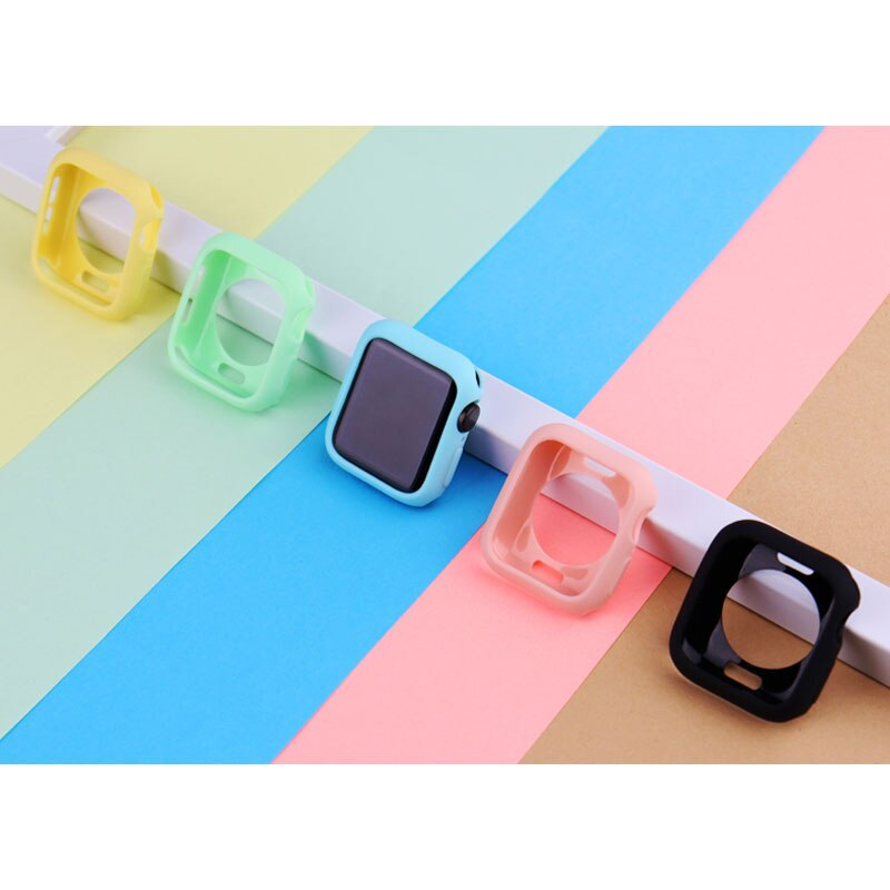 silicone soft cover case for apple watch band 44mm 40mm 42mm 38mm Accessorie iwatch apple watch series 3 4 5 SE 6