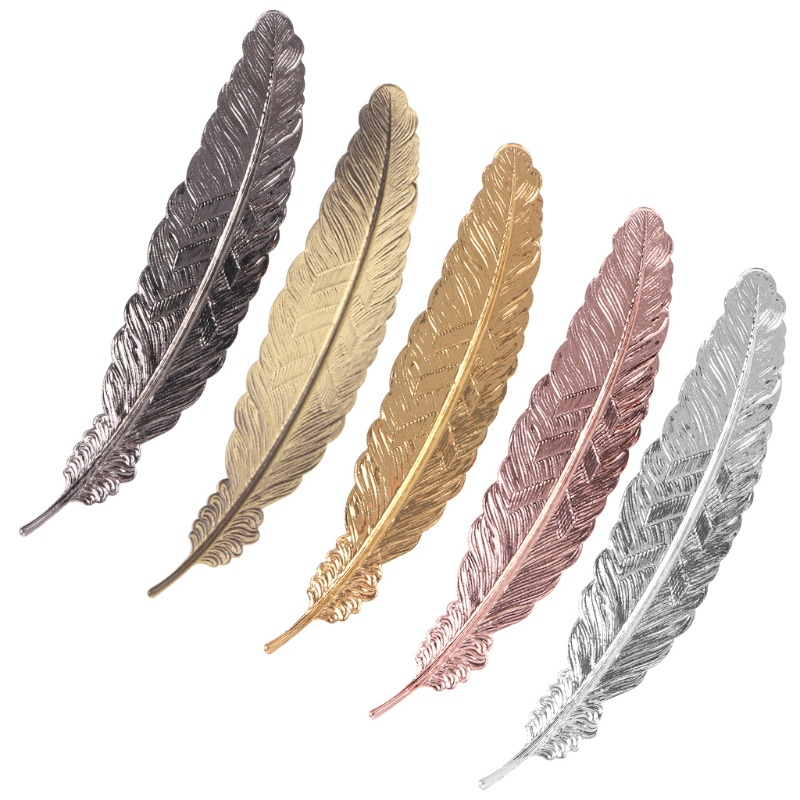 ST❀ Creative Retro Feather Shaped Metal Bookmark Page Marker For Books Office School