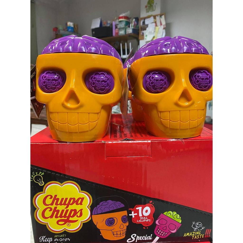 ถังหัวกะโหลก Chupa chups Skull พร้อมลูกอม 10 ไม้