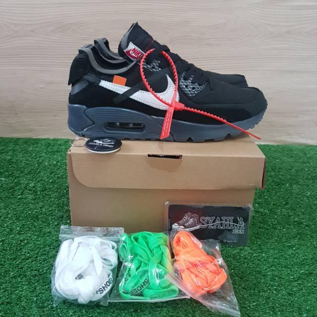 "Nike Airmax 90 Off White Shoes ""black"" 100% Ua  Free ถุงเท้าสีขาวสีดํา"