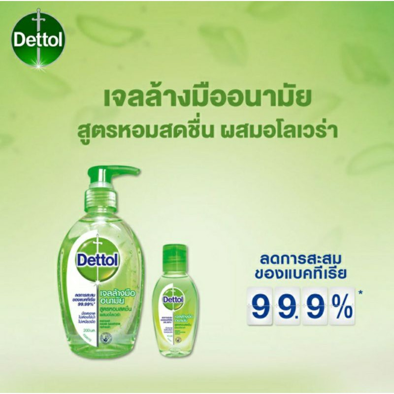 Dettol เจลล้างมืออนามัยแอลกอฮอล์ 70% สูตรหอมสดชื่นผสมอโลเวล่า200 มล.