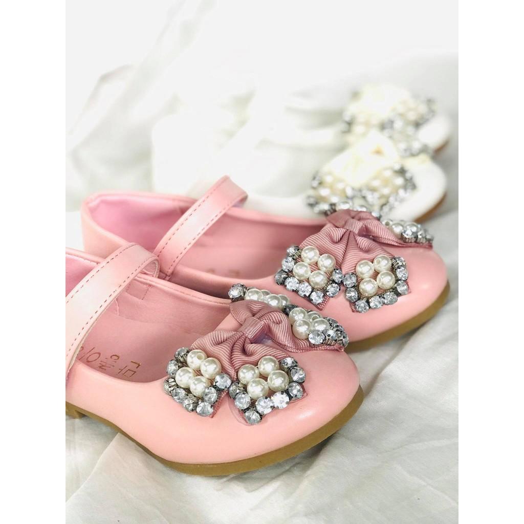 รองเท้าเจ้าหญิง รองเท้าคัชชูเด็ก งานประดับมุกฟรุ้งฟริ้ง