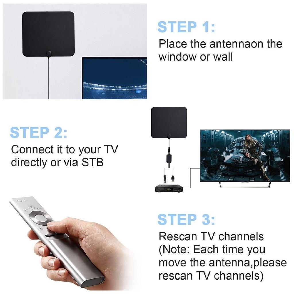 Ultra Thin Flat Indoor HDTV Amplified HD TV Signal Antenna 16FT Coax 300 Mile US