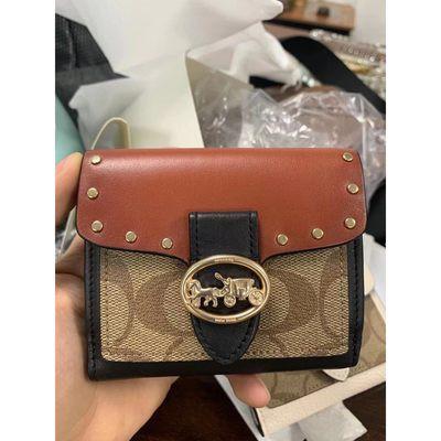 ⅛ℯคุณผู้หญิงAmerican Coach กระเป๋าผู้หญิงกระเป๋าสตางค์ใบสั้นกระเป๋าสตางค์กระเป๋าใส่บัตรสำหรับแฟน6791สีกากีจับคู่สี