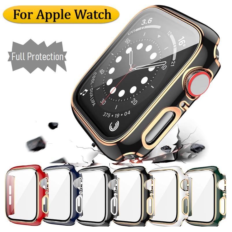 เคส Apple Watch Case Cover Full cover PC case+tempered glass Cover Scratch & Impact Resistance fit iWatch Series 6 5 4 3 2 1 Apple Watch SE เคส applewatch