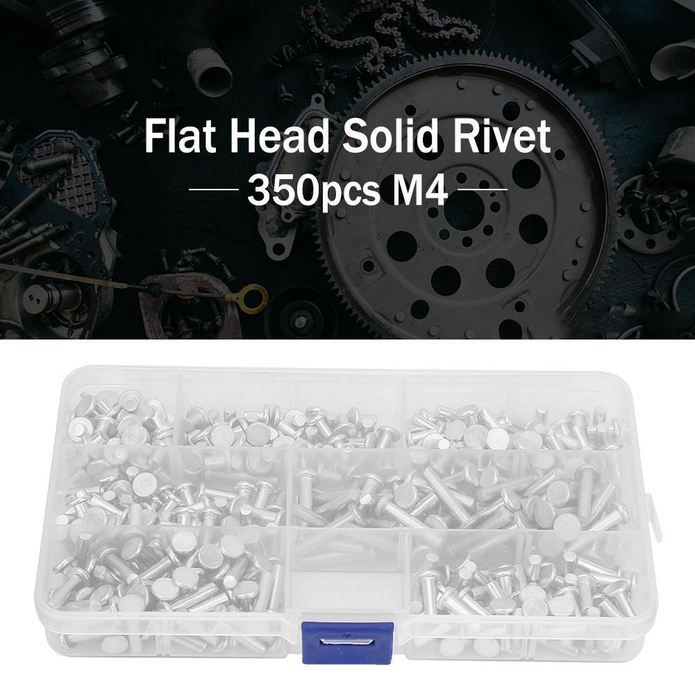 M4 Flat Head Solid Rivet,350pcs Aluminum Rivets Assortment Kit,4//6//8//10//12//16//20mm Flat Head Solid Aluminum Rivet