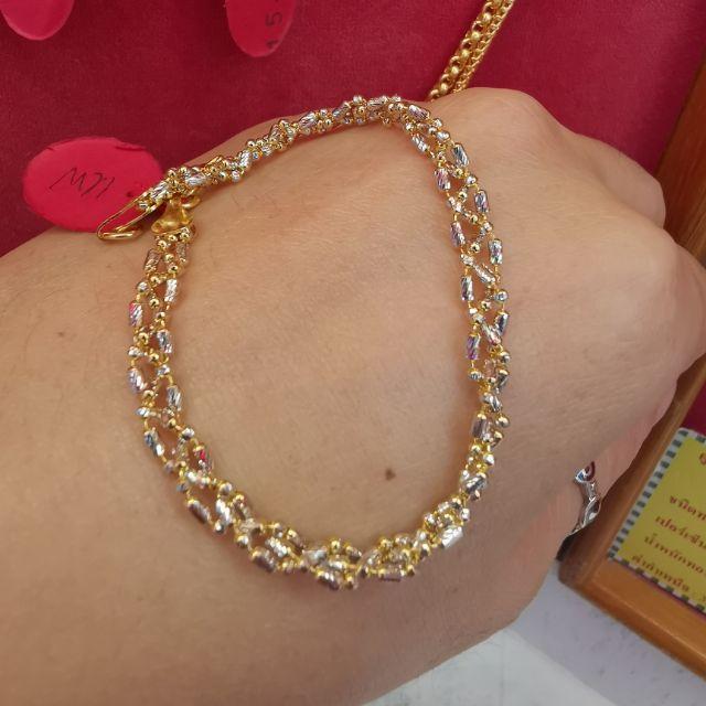 สร้อยมือทอง 96.5%  น้ำหนัก 2 สลึง ยาว 17-17.5cm ราคา 15,500บาท