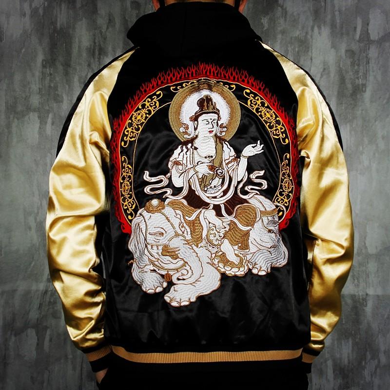SUKAJAN พรีเมียมเกรด Japanese Souvenir Jacket  แจ็คเกตซูกาจันลาย  GUAN YIN VS HANYA