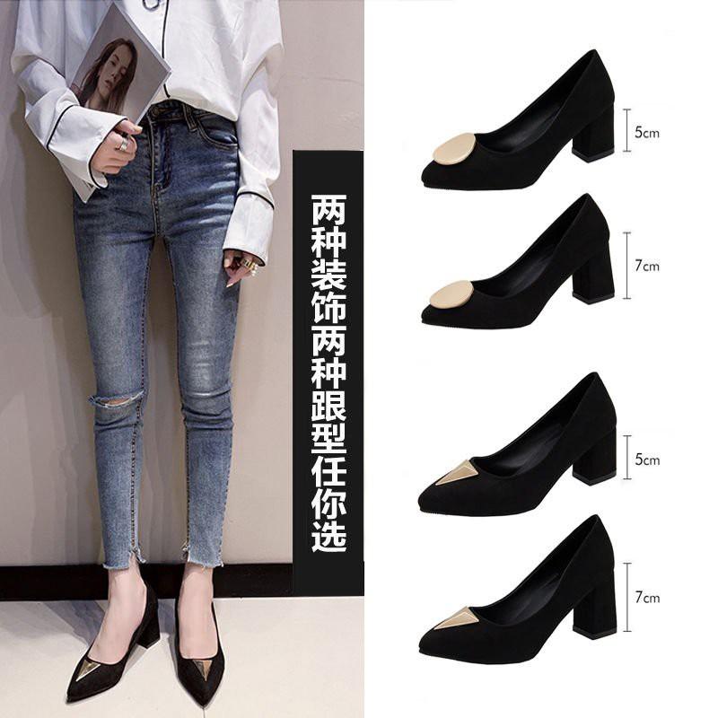 moyan รองเท้าแตะหญิง รองเท้าคัชชูดำ ผู้หญิงส้นสูงสีดำฤดูใบไม้ผลิและฤดูใบไม้ร่วง 2019 นักเรียนเกาหลีชี้นิ้วเท้ารองเท้าส้น
