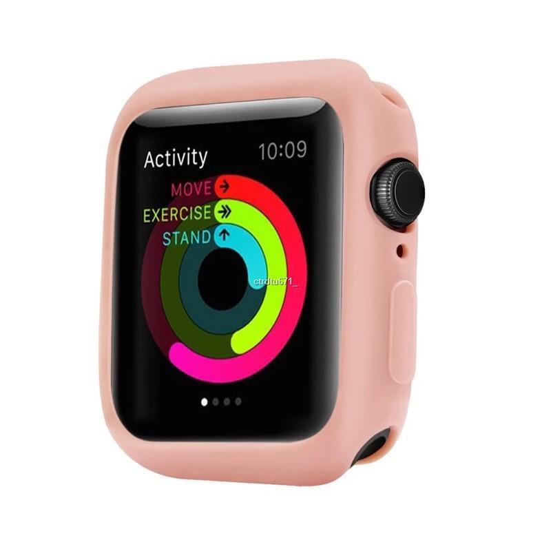 ราคาขายส่ง☬♧☎เคส AppleWatch Case ขนาด 38 มม. 40 42 44 หุ้มซิลิโคนสีสันอ่อนสำหรับ iWatch Series 5/4/3/2/1
