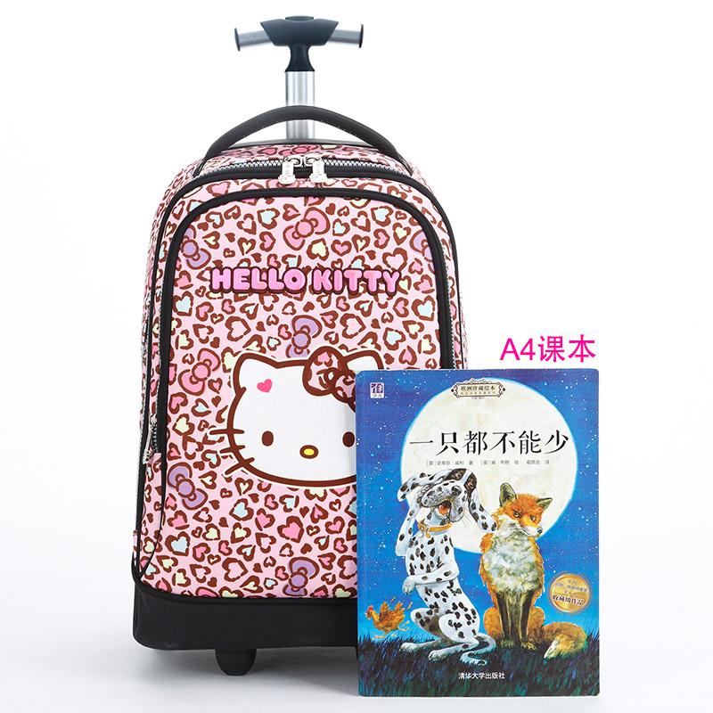 ☣Κ กระเป๋าเดินทางล้อลากใบเล็ก กระเป๋าเดินทางล้อลากกรณีรถเข็นHelloKitty Hello Kittyเด็กรถเข็นกระเป๋านักเรียนโรงเรียนประถม