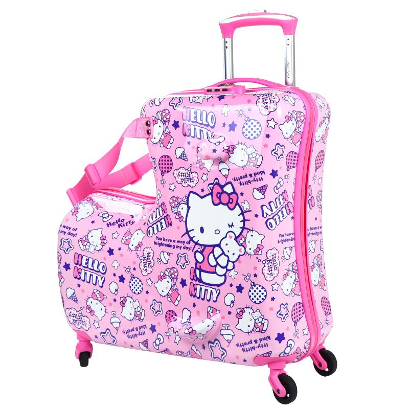 ォぅกรณีรถเข็น กระเป๋าเดินทางล้อลากใบเล็กH ello K Ittyเด็กกรณีรถเข็นกระเป๋าเด็กสาวสามารถนั่งสามารถขี่ของเล่นน่ารักกระเป๋าเ