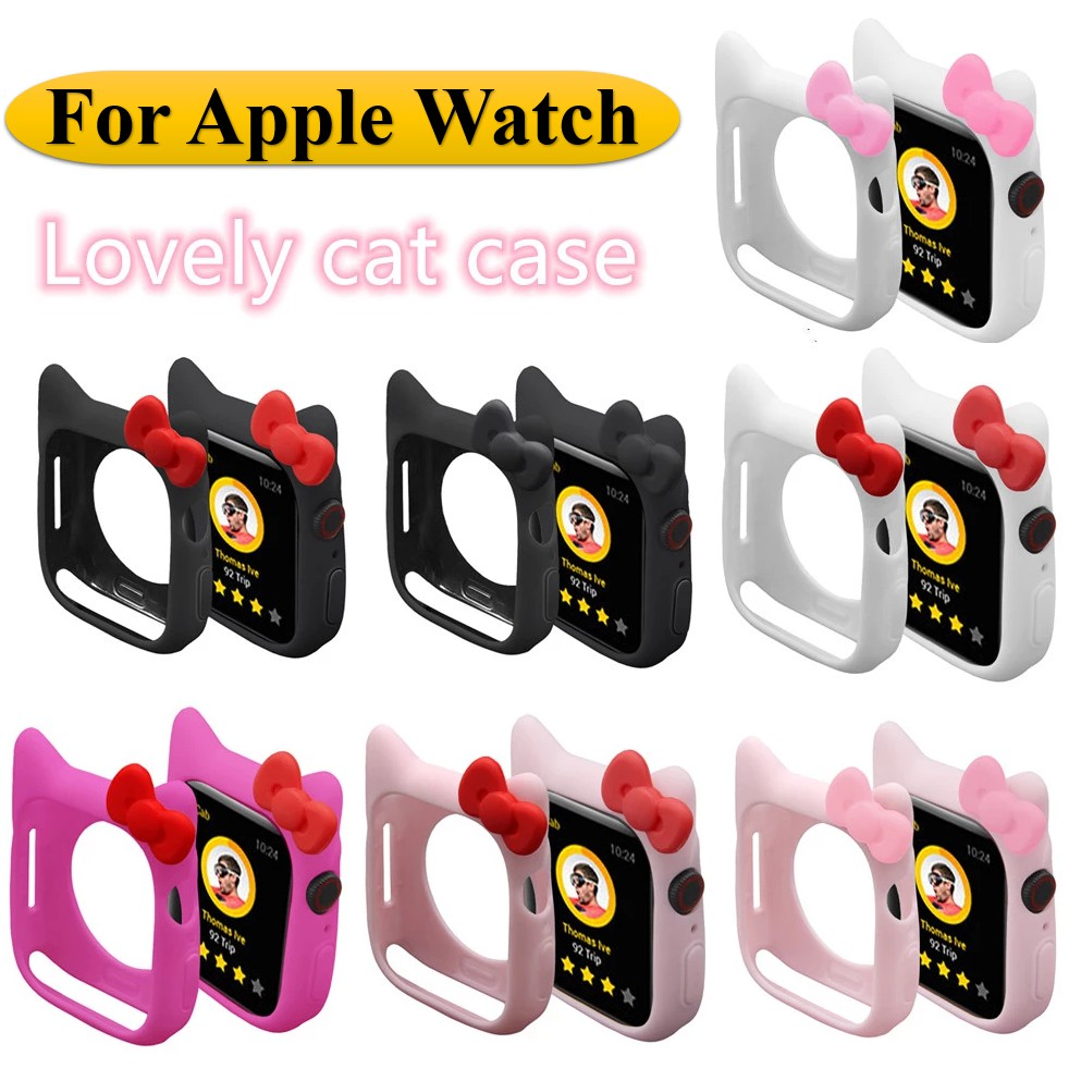 Apple Watch Case Candy Cute Soft Silicone Case Apple Watch 6 SE 5 4 3 size 40mm 44mm AppleWatch Cover Protection Shell for Apple Watch Rubber Bumper
