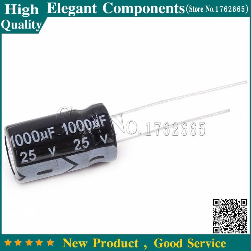 10PCS Electrolytic Capacitor 25V 1000UF 10*17mm 1000uF//25V