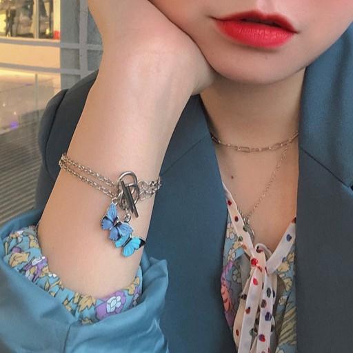 (c-001) กำไลข้อมือรูปผีเสื้อ เครื่องประดับสร้อยข้อมือโซ่จี้ผีเสื้อคลาสสิก สไตล์เกาหลี.