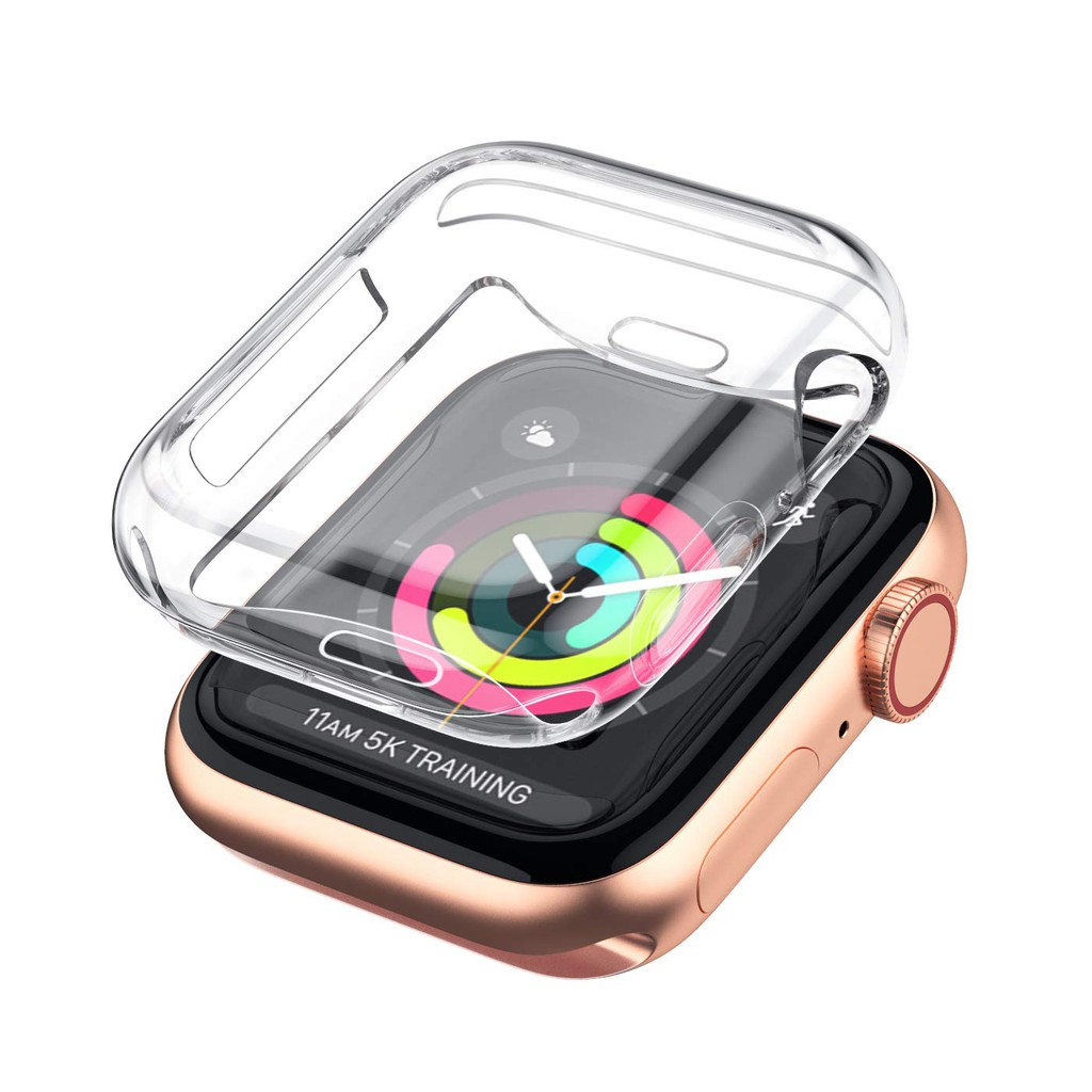 Transparent Cover for Apple Watch Series 6 5 4 44MM 40MM 360 Full Soft Clear TPU Screen Protector Case for iWatch 3 2 1 38MM 42MM