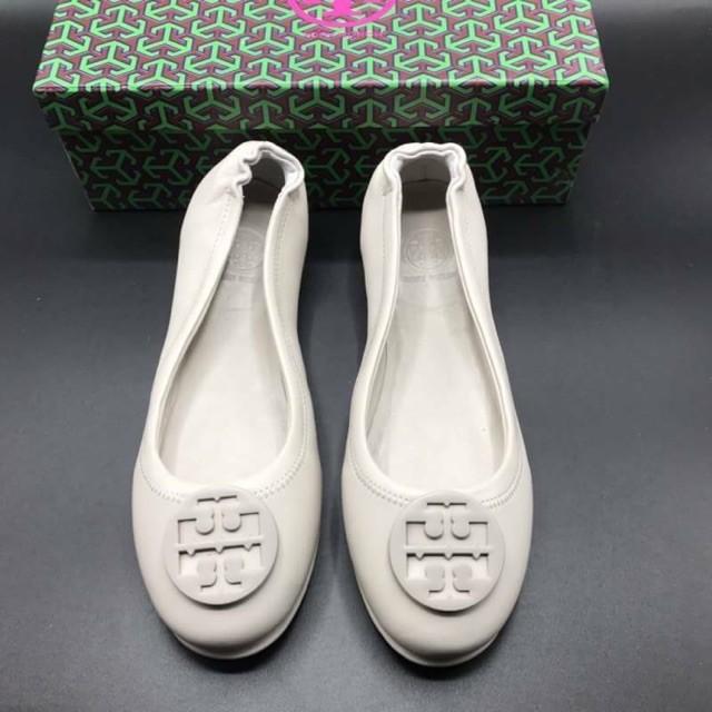 การซื้อของแท้】รองเท้าคัชชู รองเท้าคัชชูหนังแท้ TORY BURCH BALLET FLAT SHOES หนังแท้💯%