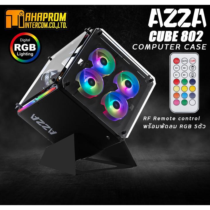 เคสคอมพิวเตอร์ พร้อมพัดลม RGB AZZA Innovative Tempered Glass ARGB CUBE 802 With RF Remote control - Black