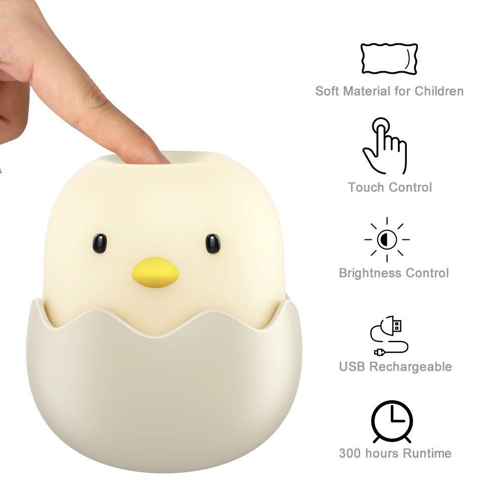 USB Rechargeable Battery LED Lamp Cute Chick Night Light for Kids Ideal Baby Gift for New Moms Kids Night Lights for Bedroom: Baby Night Light