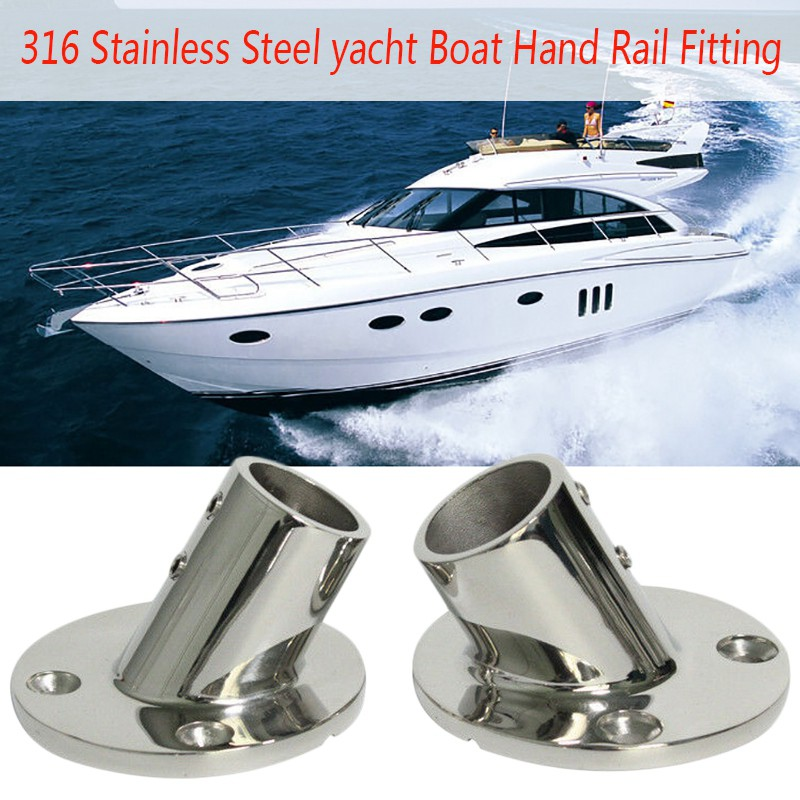 Stainless Steel Yacht Boat Hand Rail Fittings 60° Degree 7//8/'/' Round Base-Marine