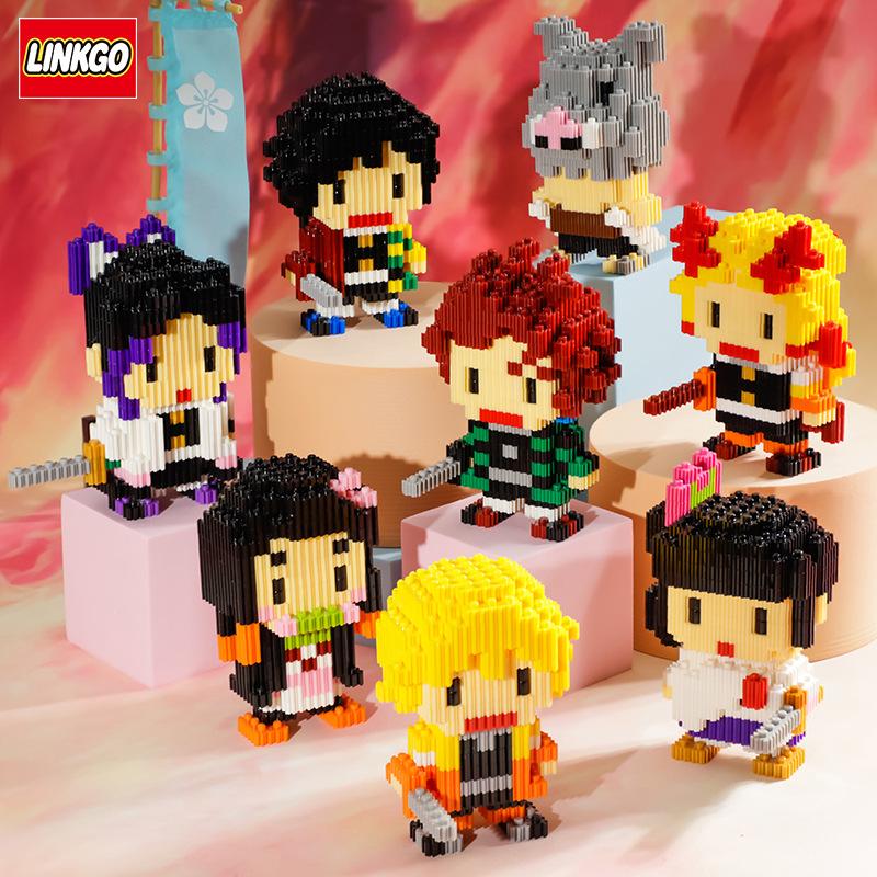 Demon Slayer Kamado Nezuko Tanjirou Agatsuma Zenitsu Animation model Granular building blocks figure Children Toys gifts