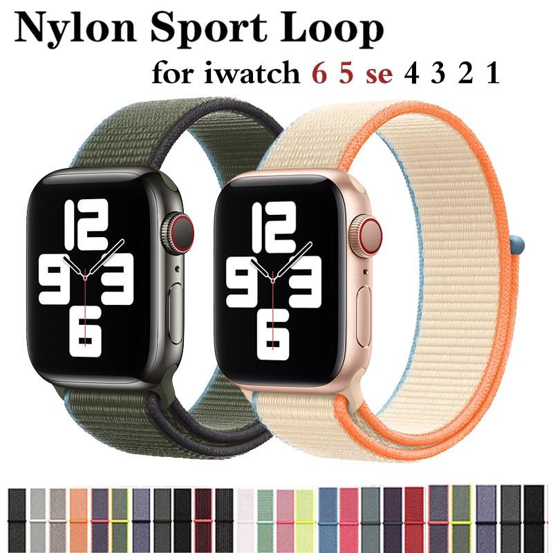 สาย applewatch apple watch band 44 มม. 40 มม.38 มม. 42 มม.ชุด6/SE/5/4  ชุด 3 2 1 nylon สายคล้อง iwatch สาย 40mm 44mm