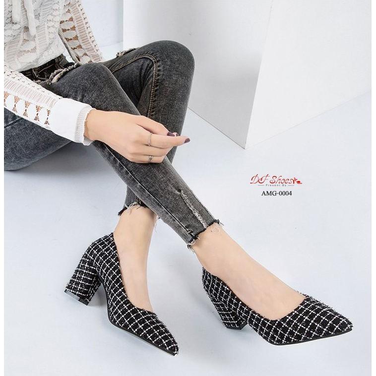 รองเท้าส้นสูง รองเท้าคัชชูส้นสูงหัวแหลม ส้นตัน เรียบหรูสีดำ-ขาว