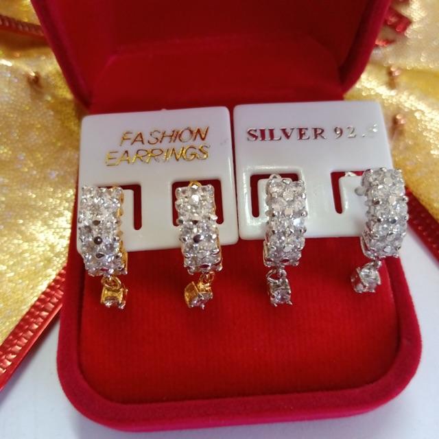 ต่างหู ผู้หญิง เพชร cz สองแถว ชุบทองไมครอน และทองคำขาว ราคาถูก