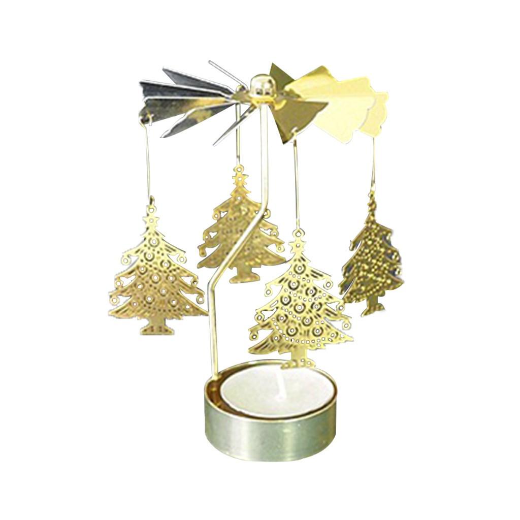 Spinning Rotary Carousel Tea Light Candle Holder Stand Light Gift Wedding Decor
