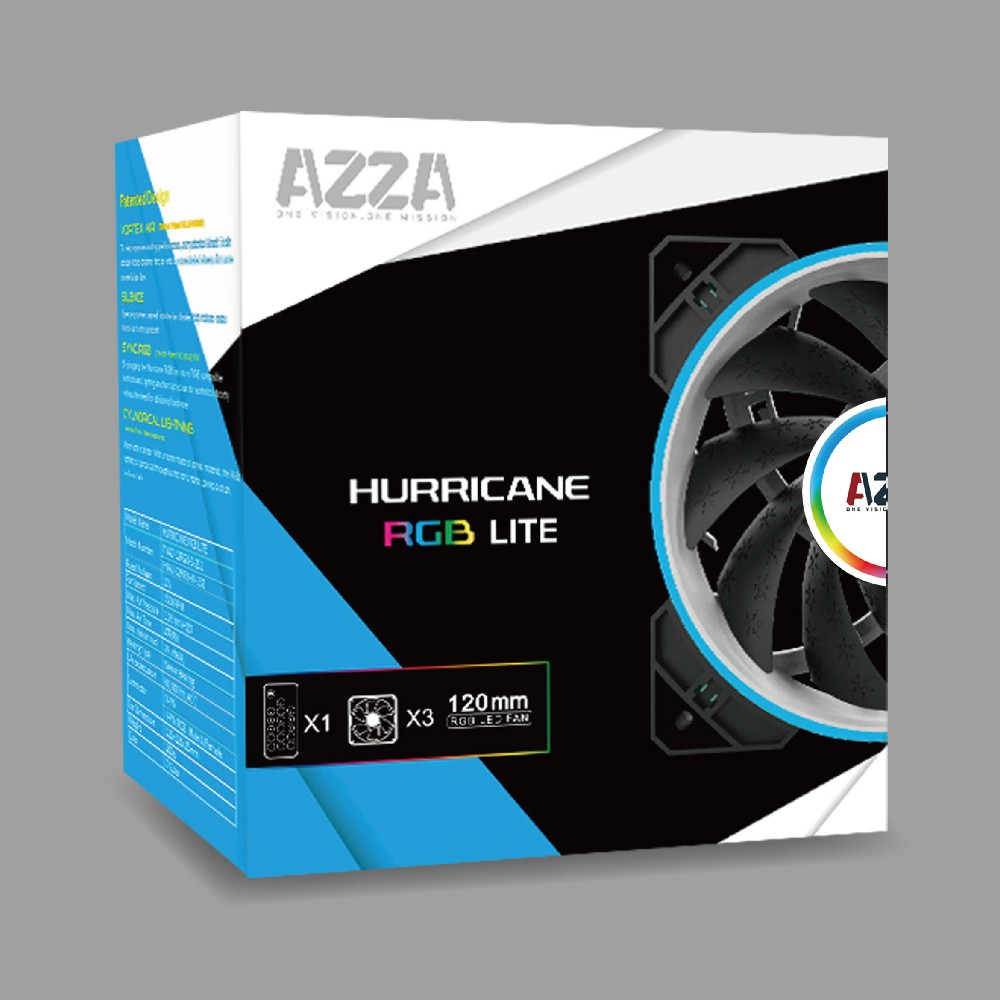พัดลม AZZA HURRICANE RGB LITE+RF CONTROLLER