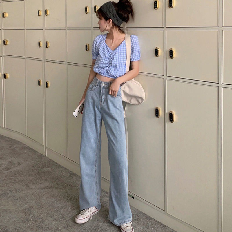 กางเกงยีนส์เอวสูง3สี??พร้อมส่ง สไตล์เกาหลี แนววินเทจ กางเกงยีนส์ขายาวหญิง661