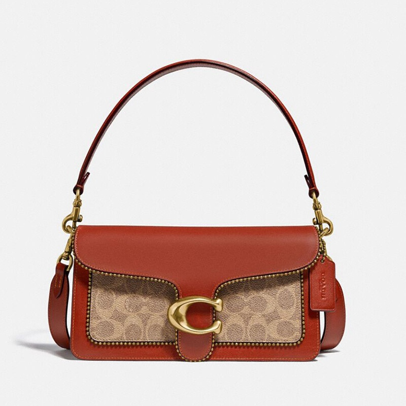 กระเป๋าผู้หญิง.COACH  หรูหรา เคาน์เตอร์ผู้หญิงTABBYชุดเคลือบใบผ้าหนังกระเป๋า Messenger แบบพกพาสีน้ำตาลสนิม26ฉบับที่ 6793
