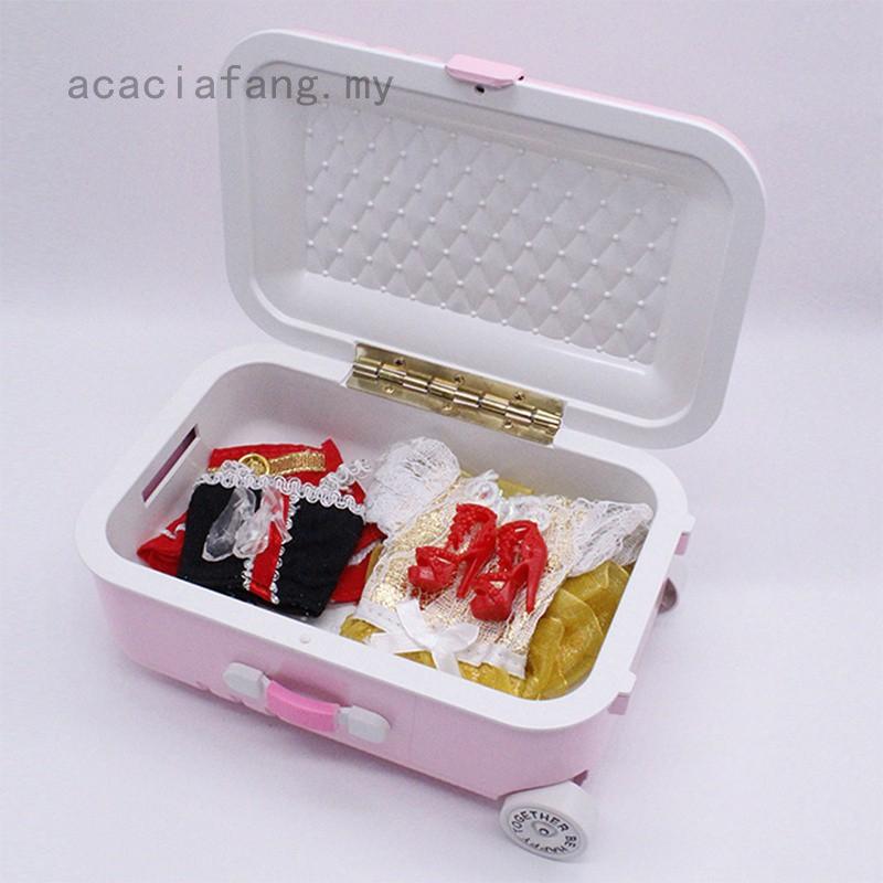 Acaciafang กระเป๋าเดินทางสีชมพูเงินขนาด 18 นิ้วสําหรับตุ๊กตา
