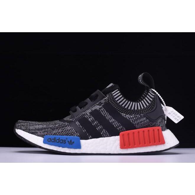 adidas nmd r 1 primeknit รองเท้ากีฬาแฟชั่นสีเทา/สีแดง/ขาว