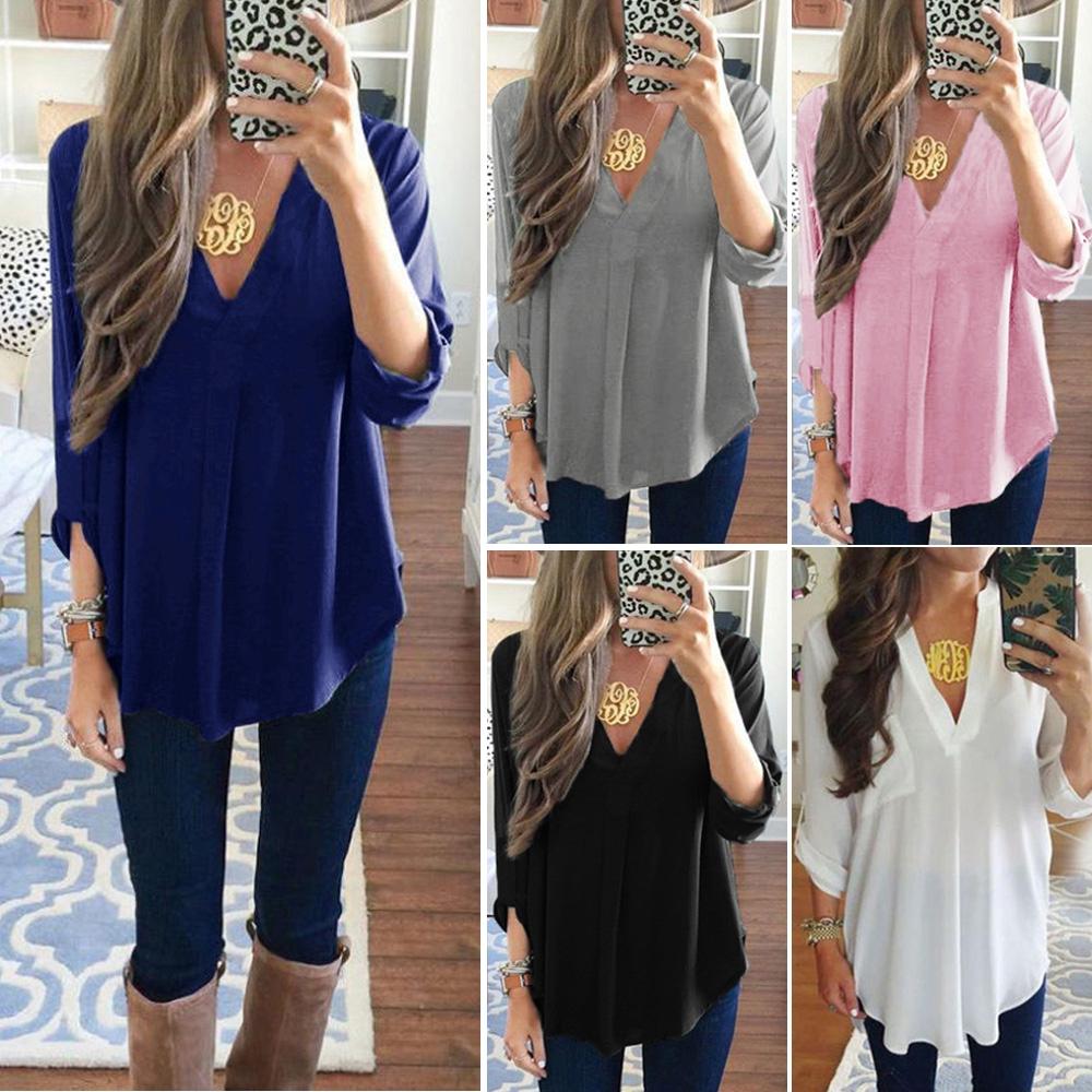 6620b5af585 ProductImage. สินค้าหมด. Fashion Summer Women Casual Chiffon Long Sleeve  Ladies Shirt Loose Tops Blouse