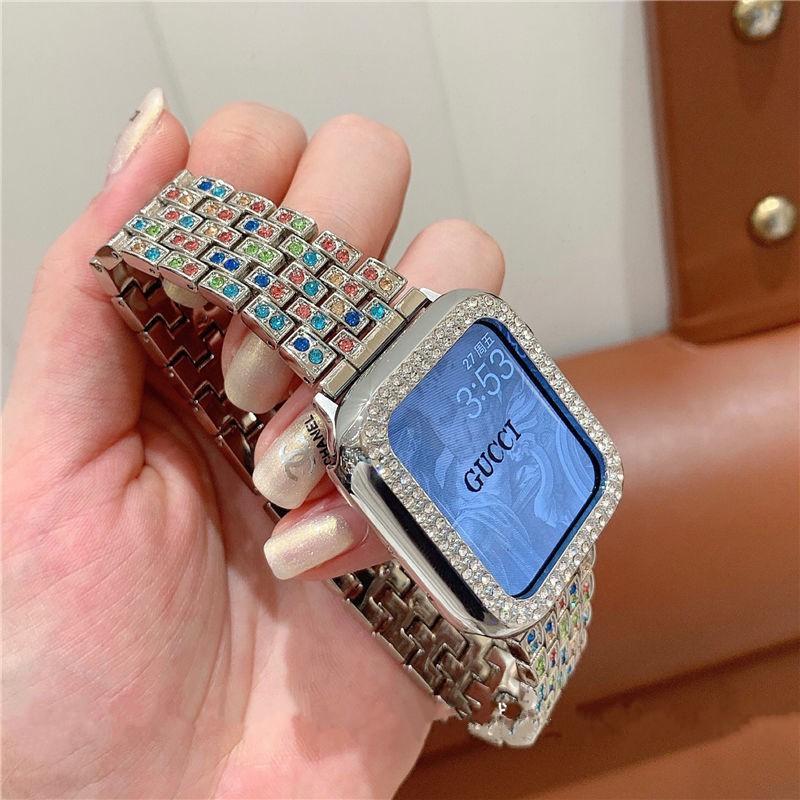 สาย applewatch + เคส รูปสี่เหลี่ยมขนมเปียกปูน สาย applewatch Bling Diamonds Straps for Apple watch Series 1/2/3/4/5/6 ,
